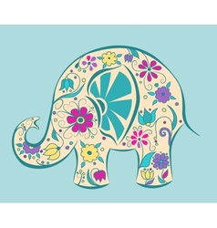 Blue elephant painted by flowers vector