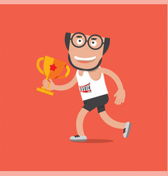 Running man with trophy vector