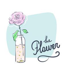 Wedding celebration attribute rose in a bottle vector
