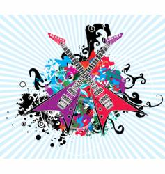Rock and roll guitar design vector