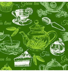Tea and cake seamless pattern Hand drawn sketch vector image
