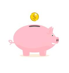 Piggy bank with a gold coin vector