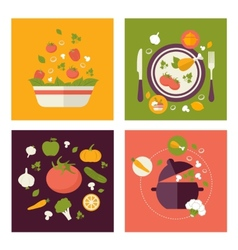 Colored fresh healthy food flat design with fruits vector