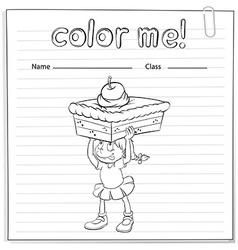 Coloring worksheet with a girl carrying a cake vector