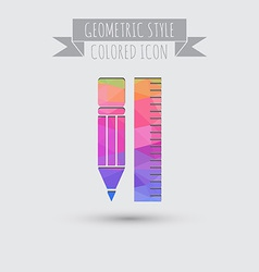 Ruler and pencil characters geometry education vector