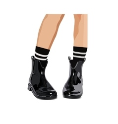 Black lacquered boots - vector
