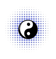 Yin yang comics icon vector