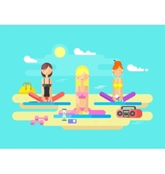 Girls practicing yoga vector