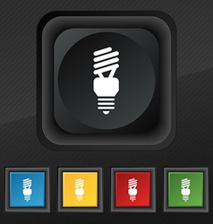 Fluorescent lamp icon symbol set of five colorful vector
