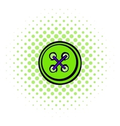 Sewing button icon comics style vector
