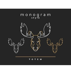 Monogram elk totem moose elk horn set of vector