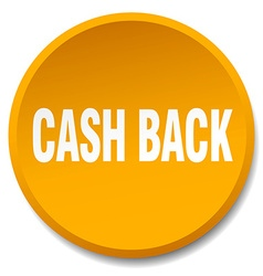 Cash back orange round flat isolated push button vector