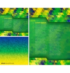 Set of geometric backgrounds using brazil colors vector