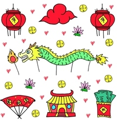 Art of chinese celebration doodles vector