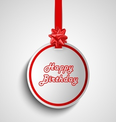 Birthday card with red round sign pointer template vector