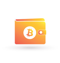 bitcoin orange wallet with crypto currency logo vector image vector image