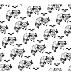 Black and white seamless pattern with raccoons vector