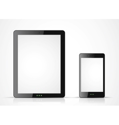 black tablet pc and mobile phone on white vector image