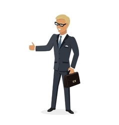 Businesman show gesture thumb up vector