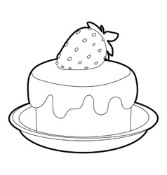 Cake icon outline style vector