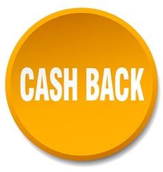 Cash back orange round flat isolated push button vector