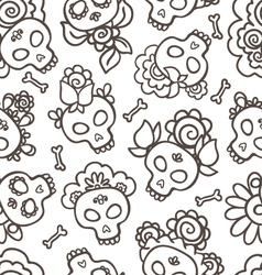 Catrinas hand drawn pattern vector