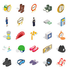 Clothing accessories icons set isometric style vector