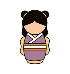 cute japanese doll icon vector image