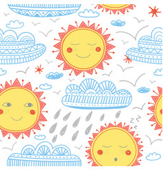 Cute sun and clouds childish seamless pattern vector