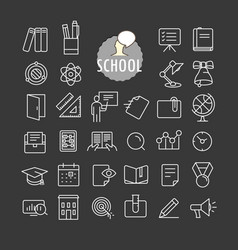 different school icons collection web and mobile vector image vector image