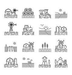 Farming icons in a thin linear style vector