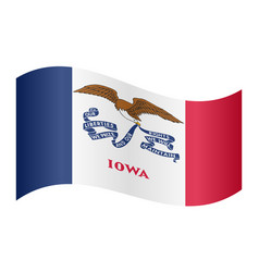 Flag of iowa waving on white background vector
