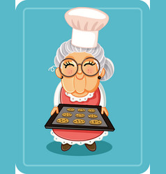 grandma baking chocolate chips cookies illu vector image