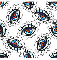 hand drawn eye doodles sticker seamless pattern vector image