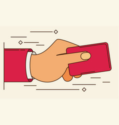 Hand holding credit card - flat style vector