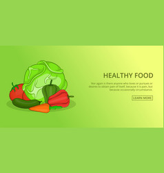 Healthy food banner horizontal cartoon style vector