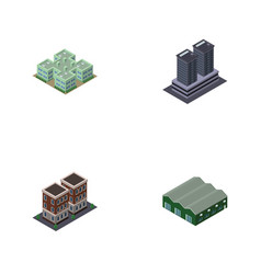 Isometric architecture set of clinic warehouse vector