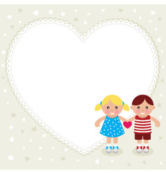 Kids with heart shape frame vector