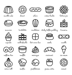 Line icon set of world best desserts and sweets vector