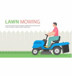 Man on tractor lawnmower vector