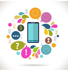 Mobile phone with icons Colorful Concept of vector image vector image