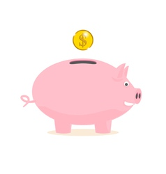 piggy bank with a gold coin vector image vector image