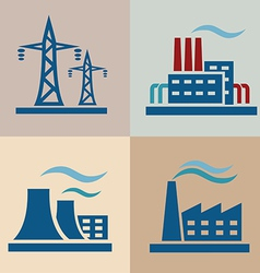 power plant electrisity icons set vector image vector image