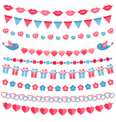 red and blue garland set isolated on white vector image vector image