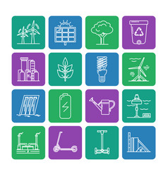 Set of energy and ecology line icons vector