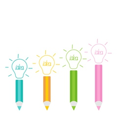 Set of pencils and shining light bulbs Business id vector image vector image