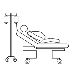 Silhouette pregnant woman in stretcher clinical vector