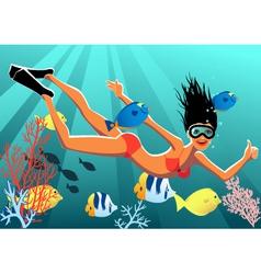 Snorkeling girl vector