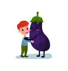 sweet little boy hugging giant eggplant vegetable vector image