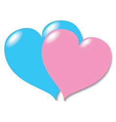 two in love hearts vector image vector image